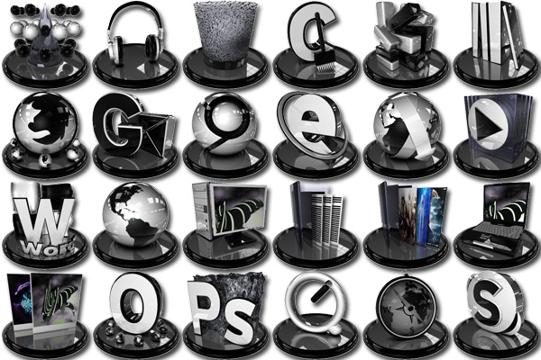 ico,png,иконки,icons,Black,White,icon pack,set,glossy,глянцевые