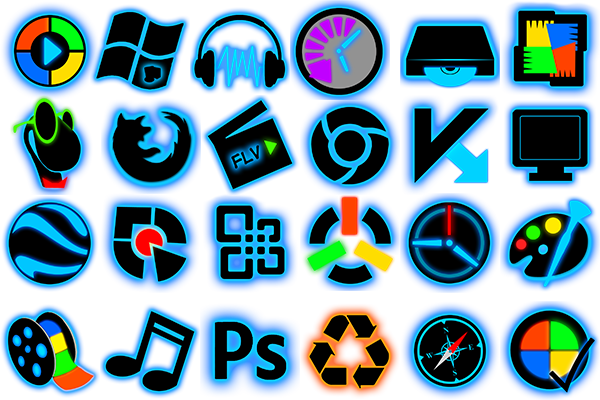 Illuminate Blue, icon set,ico,png,иконки,icons,neon