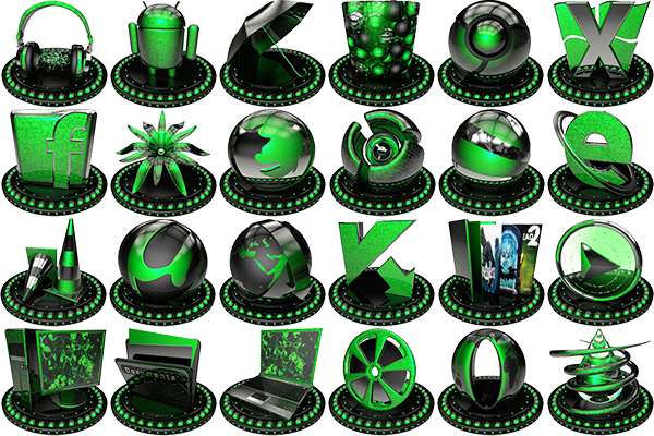 png, Ico, Icon set, зеленый, icons, green, Black, Pack, Иконки