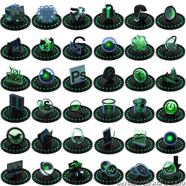 black,green,icon set,ico,png,иконки,icons,pack,зеленый